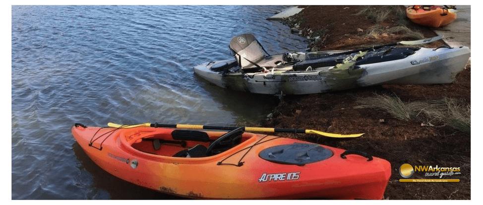Kayaks at Lake Atalanta Rogers Arkansas