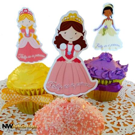 Pretty As A Princess Cupcake Picks With Matching Invitation